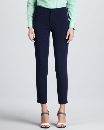 Jen Front-Pocket Slim Trousers, Navy