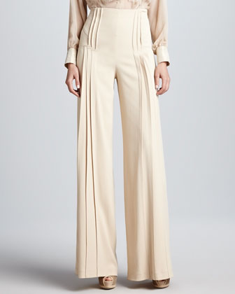 Pleated Wide-Leg Pants, Beige