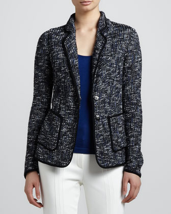 Piped Tweed Blazer, Black