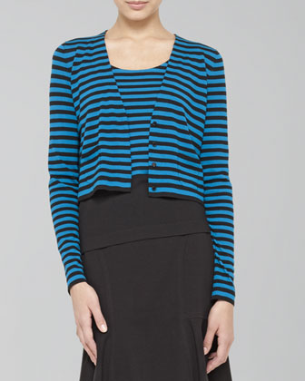 Cropped Striped Wool Cardigan