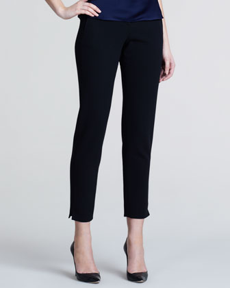 Slim Wool Crepe Trousers, Black