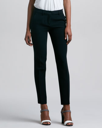 Front Closure Slim Cady Pants, Black