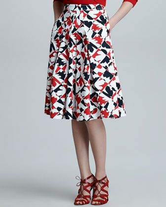 Diamond-Print A-Line Skirt