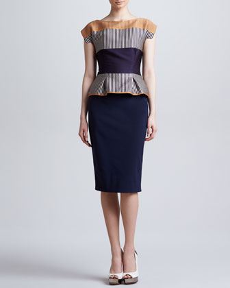 Cap-Sleeve Colorblock Peplum Dress