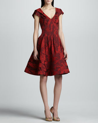 Floral Jacquard A-Line Dress, Cherry
