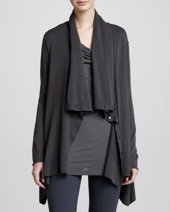 Drape-Neck Asymmetric Cardigan, Steel