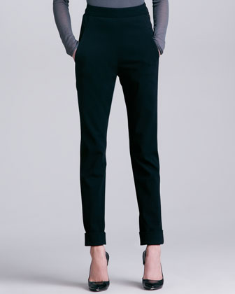 Cuffed High-Waist Trousers, Black
