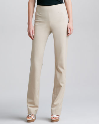 Side-Zip Straight-Leg Pants, Wheat