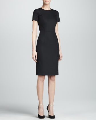 Short-Sleeve Fitted Sheath Dress, Black