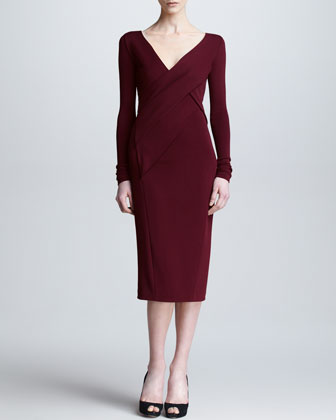 Long-Sleeve Draped V Neck Dress, Pomegranate