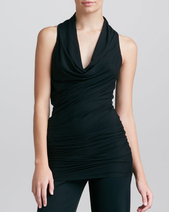 Draped Cowl-Neck Tunic, Black