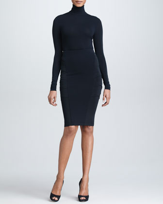 Crossover-Panel Pencil Skirt, Black