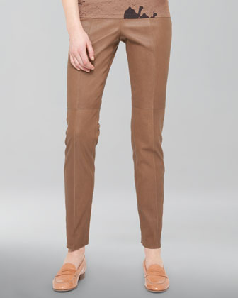 Seamed Stretch Leather Pants