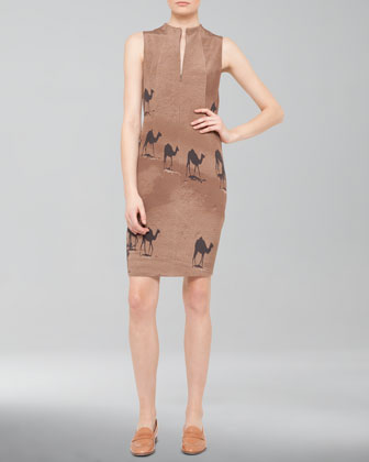 Camel-Print Zip Shift Dress