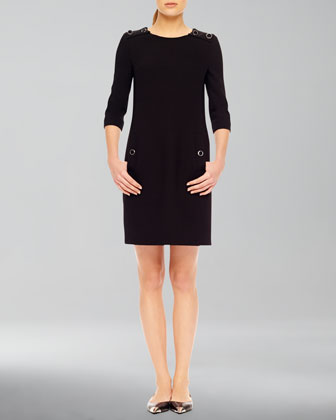 Stretch Boucle Button Dress