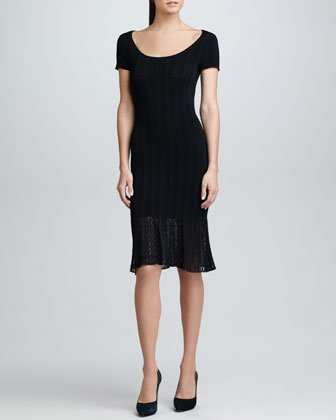 Cap-Sleeve Crochet Knit Dress, Black