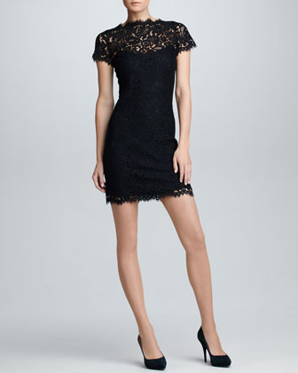 Short-Sleeve Scalloped Lace Dress, Black