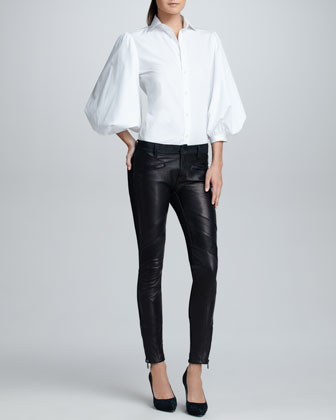 Leather-Front Moto Jeans, Twilight