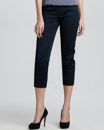 Cropped Side-Zip Sateen Pants, Black