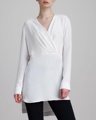 Silk Surplice Tunic Blouse, White