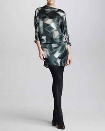 Cubist-Print Silk Satin Tunic Dress, Steel