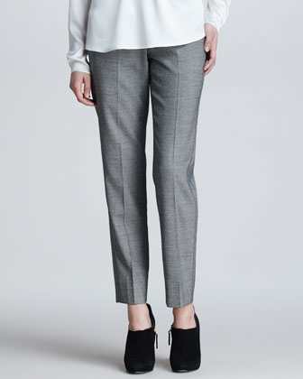 Cropped Flannel Suit Pants, Black/White