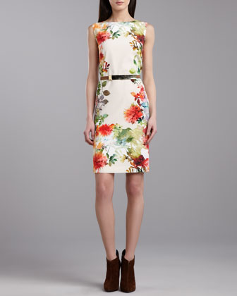 Verbena-Print Stretch Sleeveless Dress, Porcelain