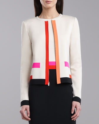 Intarsia Milano Jacket, Porcelain/Multicolor