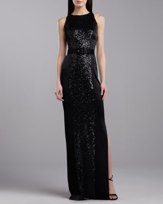 Sequined Sleeveless Gown, Caviar