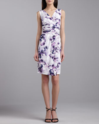 Iris-Print Stretch Silk V-Neck Dress, Violet