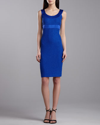 Shimmer Lattice Knit Sheath Dress, Vivid Blue