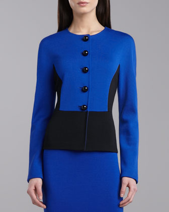 Colorblock Milano Jacket, Vivid Blue/Caviar