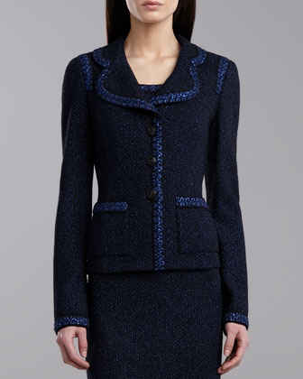 Metallic Bloomesbury Jacket, Caviar/Blue