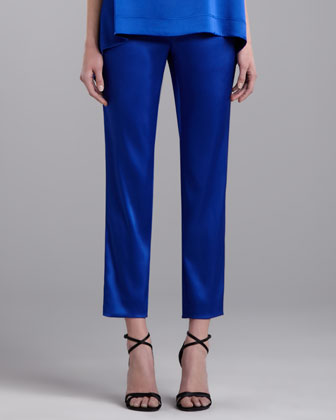 Emma Cropped Satin Pants, Vivid Blue