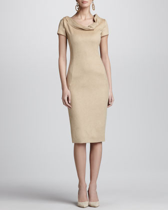 Cap-Sleeve Fold-Neck Sheath Dress, Camel