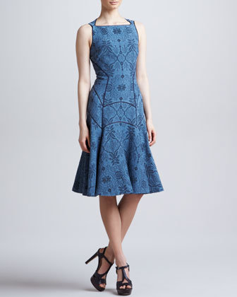 Full Skirted Leafy Jacquard Dress, Blue Dusk