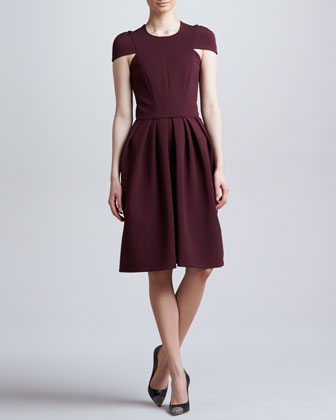 Seamed Cap-Sleeve Dress, Port