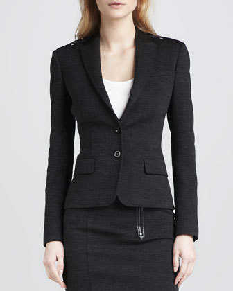Leather-Detail Blazer, Dark Gray