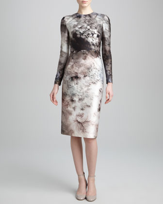 Long-Sleeve Floral-Print Dress, Gray