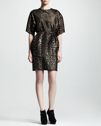 Belted Leopard-Jacquard Shift Dress