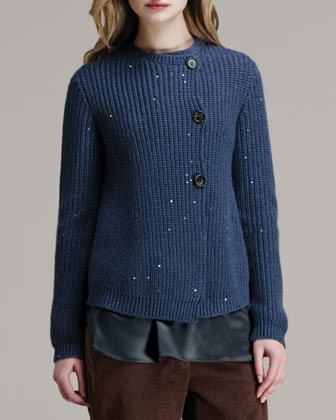 Paillette Ribbed Elbow-Patch Cardigan