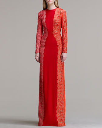 Scallop-Panel Lace Long-Sleeve Gown, Vermillion Tricolor