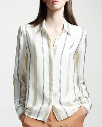 Metallic and Chevron-Striped Button-Front Blouse