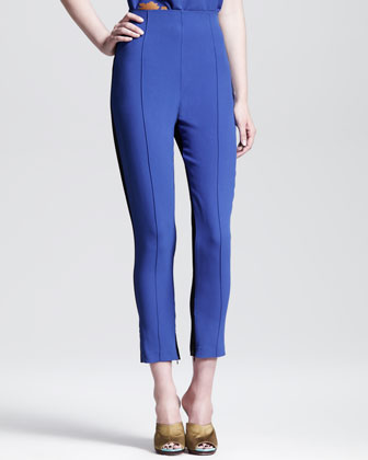 Irma Contrast Crepe-Back Cropped Trousers