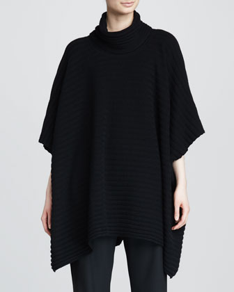 Cashmere Three-Quarter-Sleeve Cowl Poncho, Black