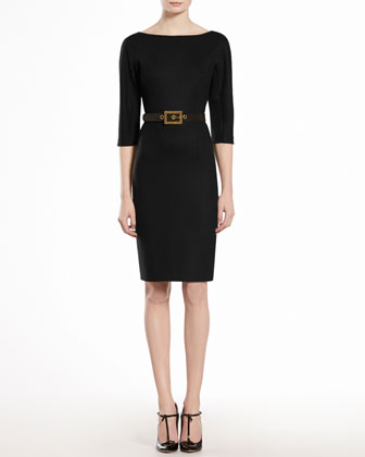 Wool Jersey Belted Dress