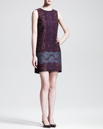 Lace-Embroidered Tweet Swing Jacket and Lace-Embroidered Tweed Shift Dress