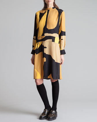 Printed Mandarin Collar Dress, Gold Sand