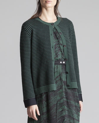 Striped Neoprene-Cuff Cardigan, Green/Gray