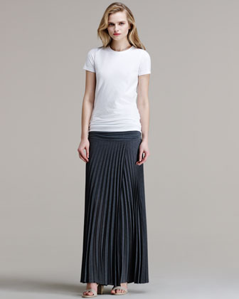 Pleated Wool Gazar Long Skirt